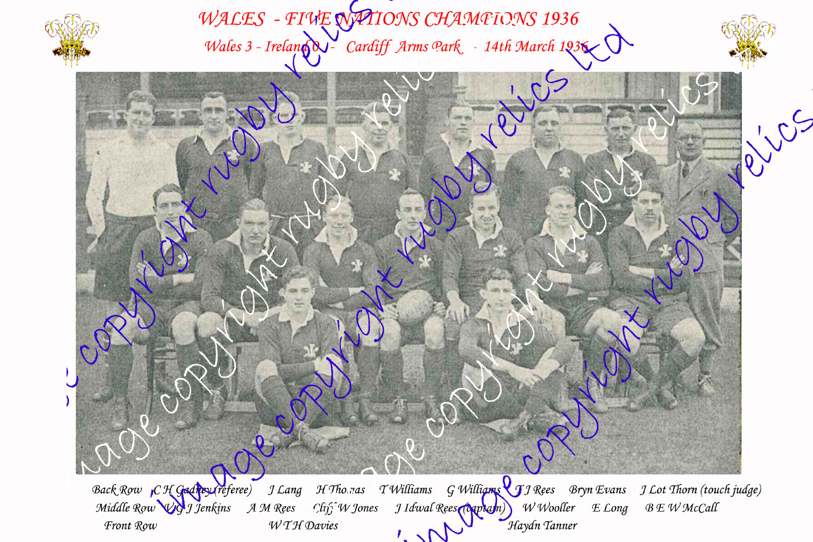 Welsh Rugby Photographs - Teams & Players of Wales