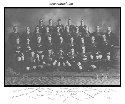 The 1905 all blacks squad signed print